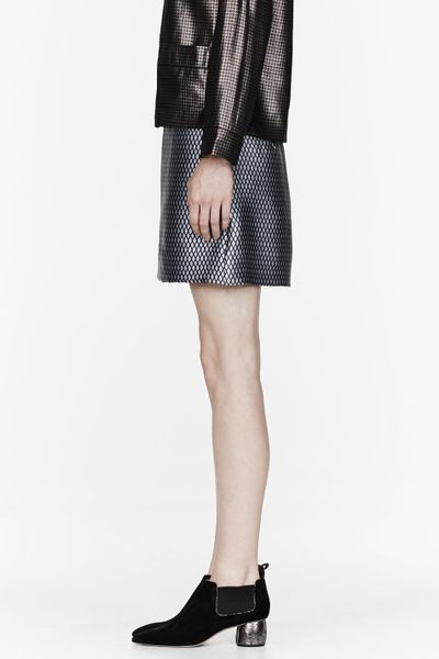marc grey diamond print mini pencil skirt in black