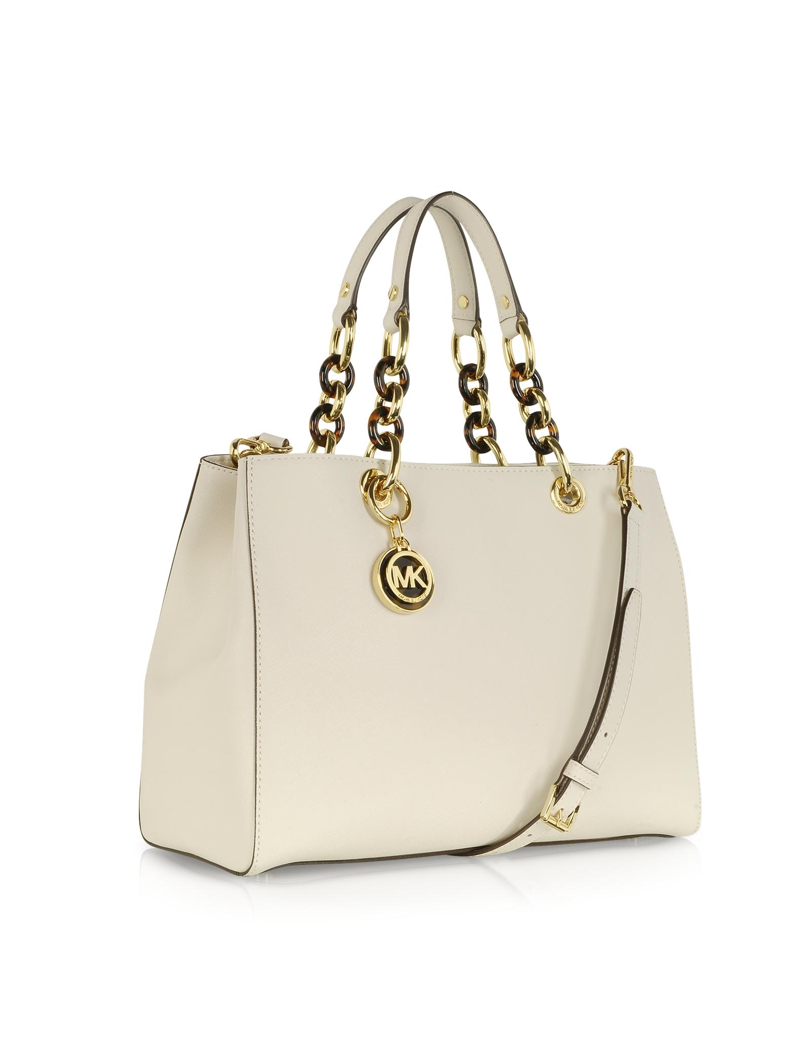 4880d345b3d13a michael kors cynthia satchel vanilla medium logo chain shoulder bag ...