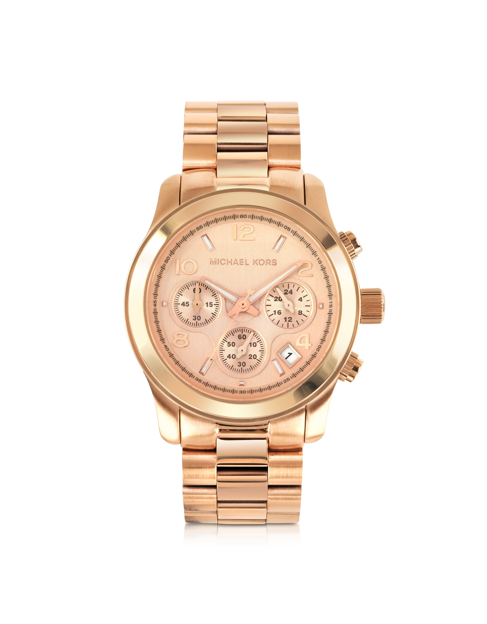 michael kors runway rose gold plated stainless steel bracelet womens watch in pink lyst. Black Bedroom Furniture Sets. Home Design Ideas