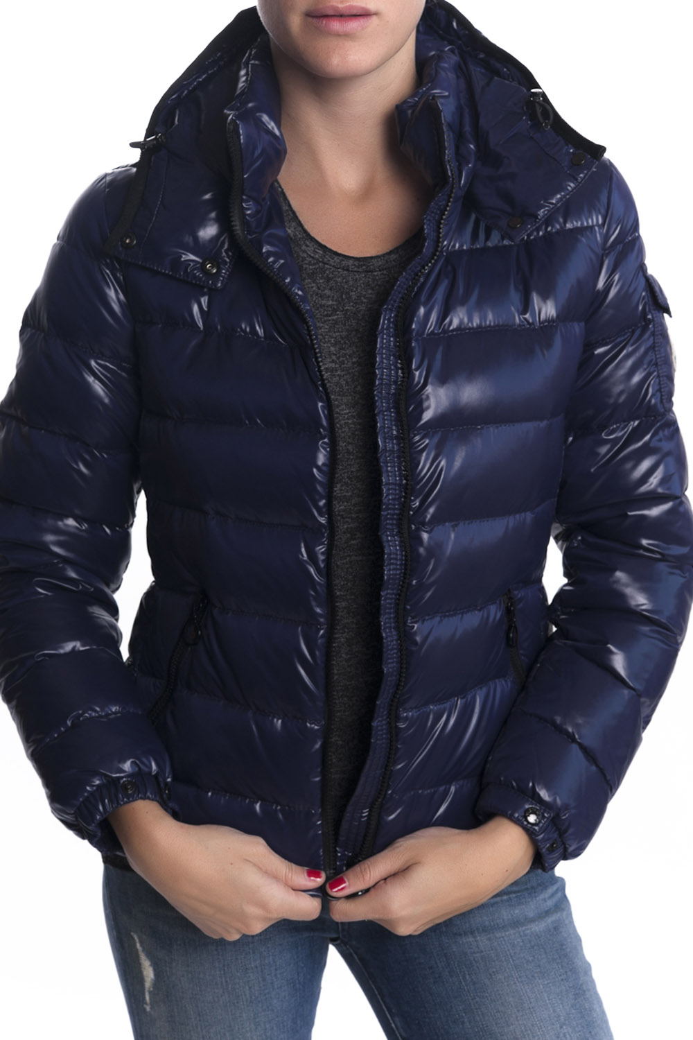 moncler bady puffer jacket blue in blue lyst. Black Bedroom Furniture Sets. Home Design Ideas