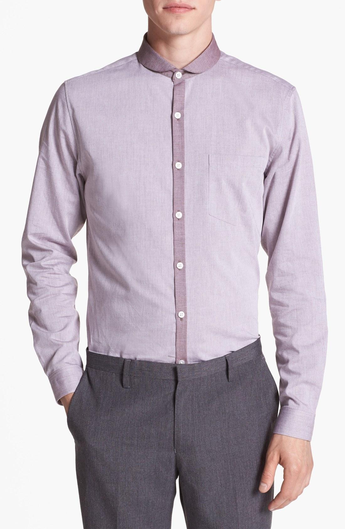 Topman round collar dress shirt in gray for men burgundy for Round collar shirt men