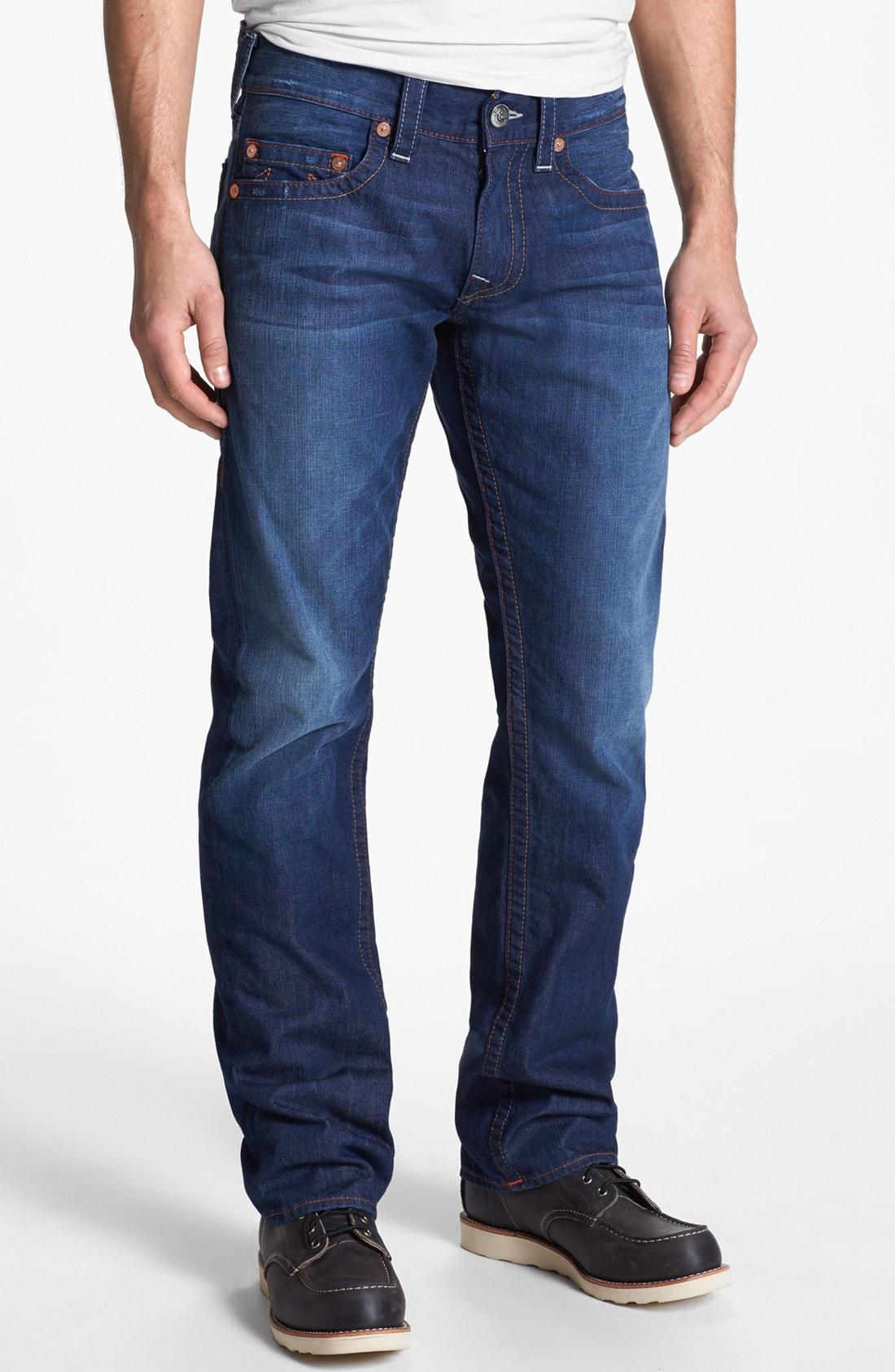 true religion bobby straight leg jeans in blue for men. Black Bedroom Furniture Sets. Home Design Ideas