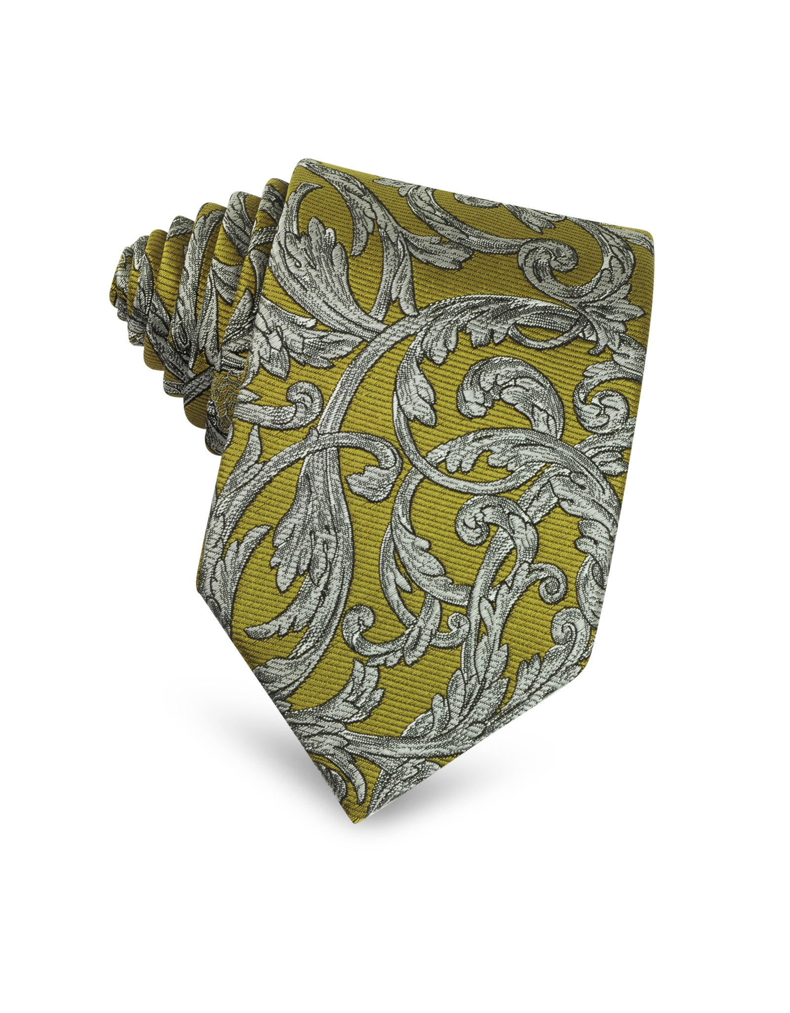 Versace Ornamental Medusa Logo Woven Silk Skinny Tie In