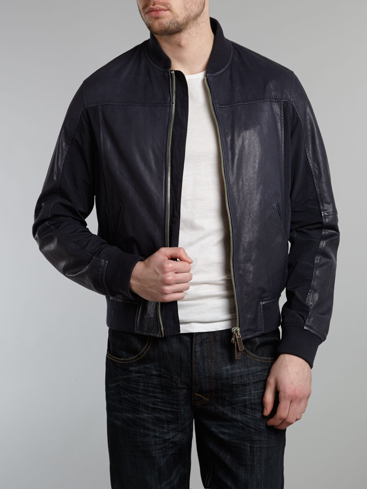 Armani jeans Leather Baseball Jacket in Blue for Men | Lyst