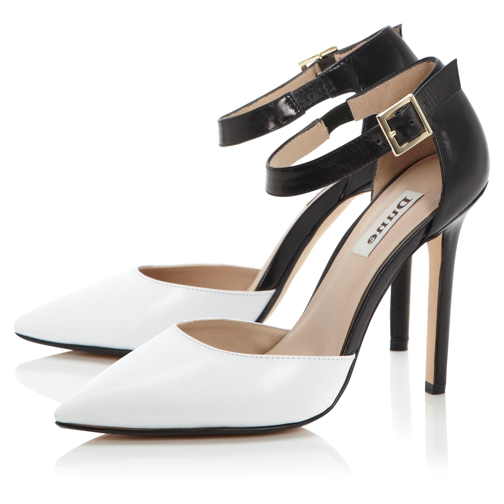 dune charm pointed open court shoes in white lyst