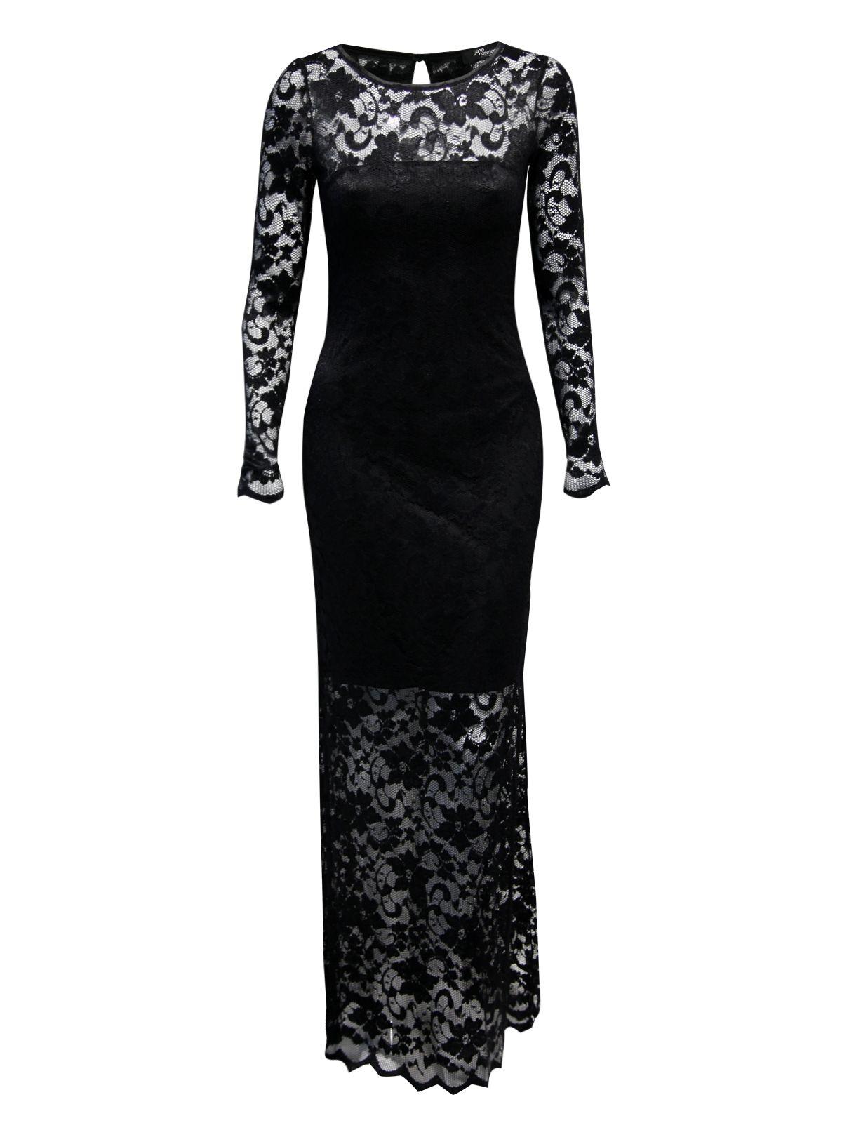 Jane Norman Lace Maxi Dress In Black Lyst