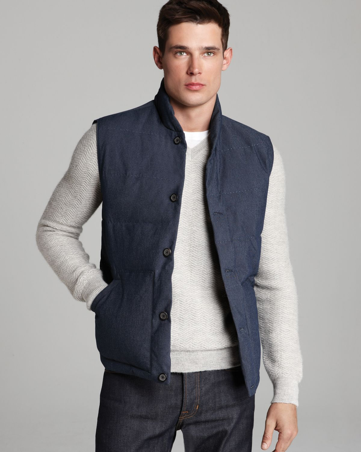 Vince Quilted Down Puffer Vest in Blue for Men | Lyst : quilted vests for men - Adamdwight.com
