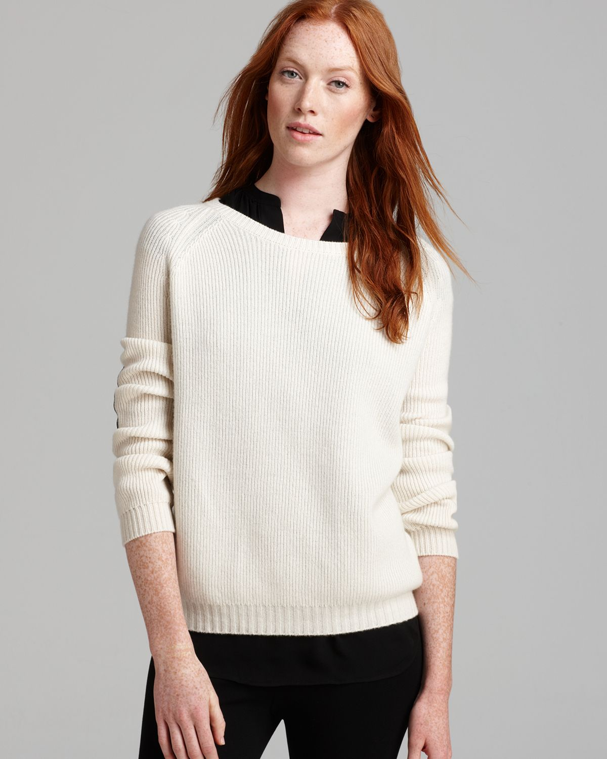 Vince Sweater Elbow Patch in White | Lyst