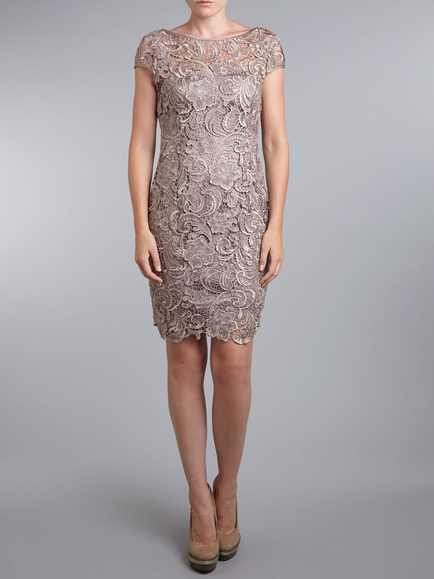 Fancy Adrianna Papell Cap Sleeve Lace Tiered Gown Image Collection ...