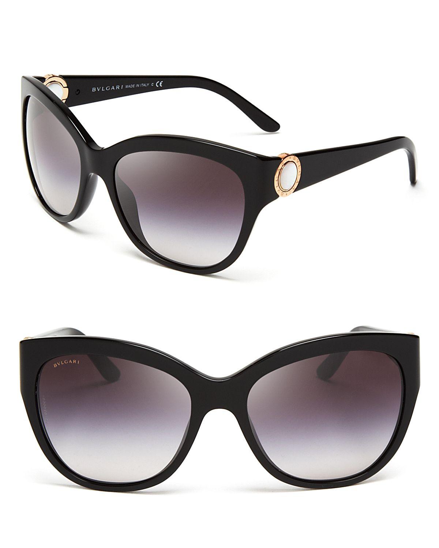 Bvl Sunglasses  bvlgari mother of pearl temple cat eye sunglasses in black lyst