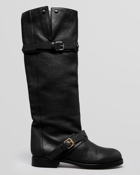 Chlo 233 Tall Boots Moto Buckle In Black Lyst