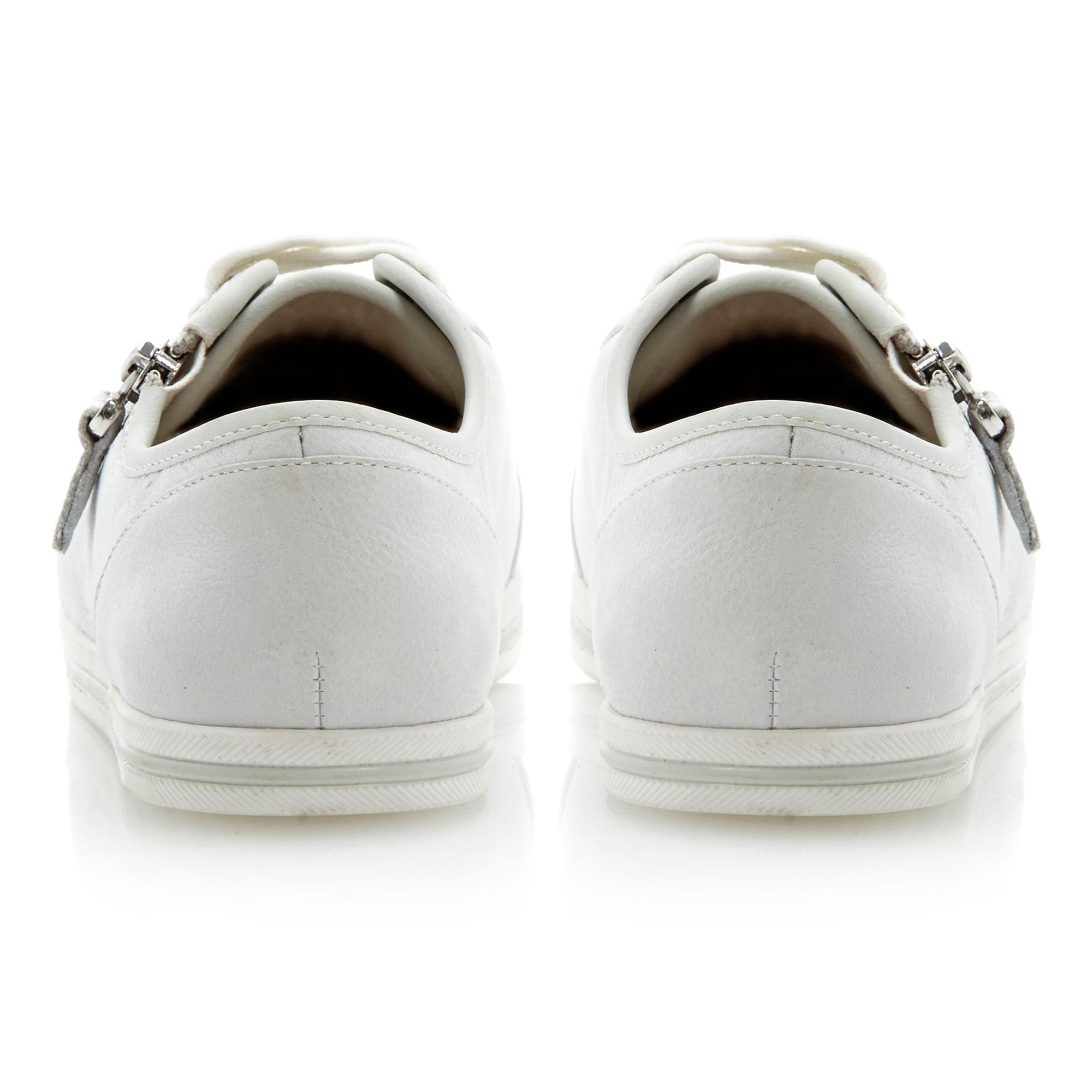 dune landscape size zip lace up shoes in white lyst