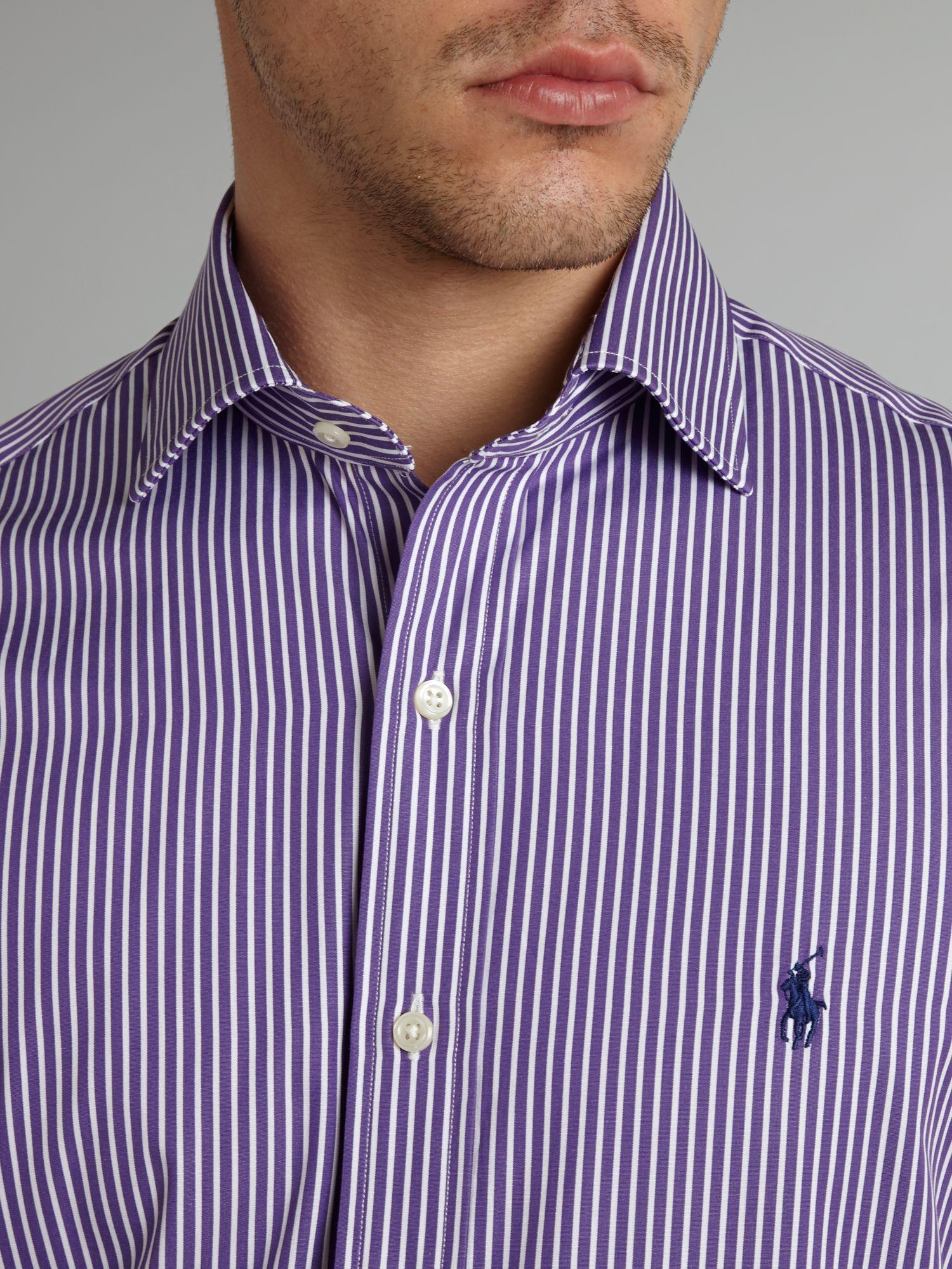 Very Lyst - Polo Ralph Lauren Custom Fit Regent Fine Stripe Shirt in  OB78