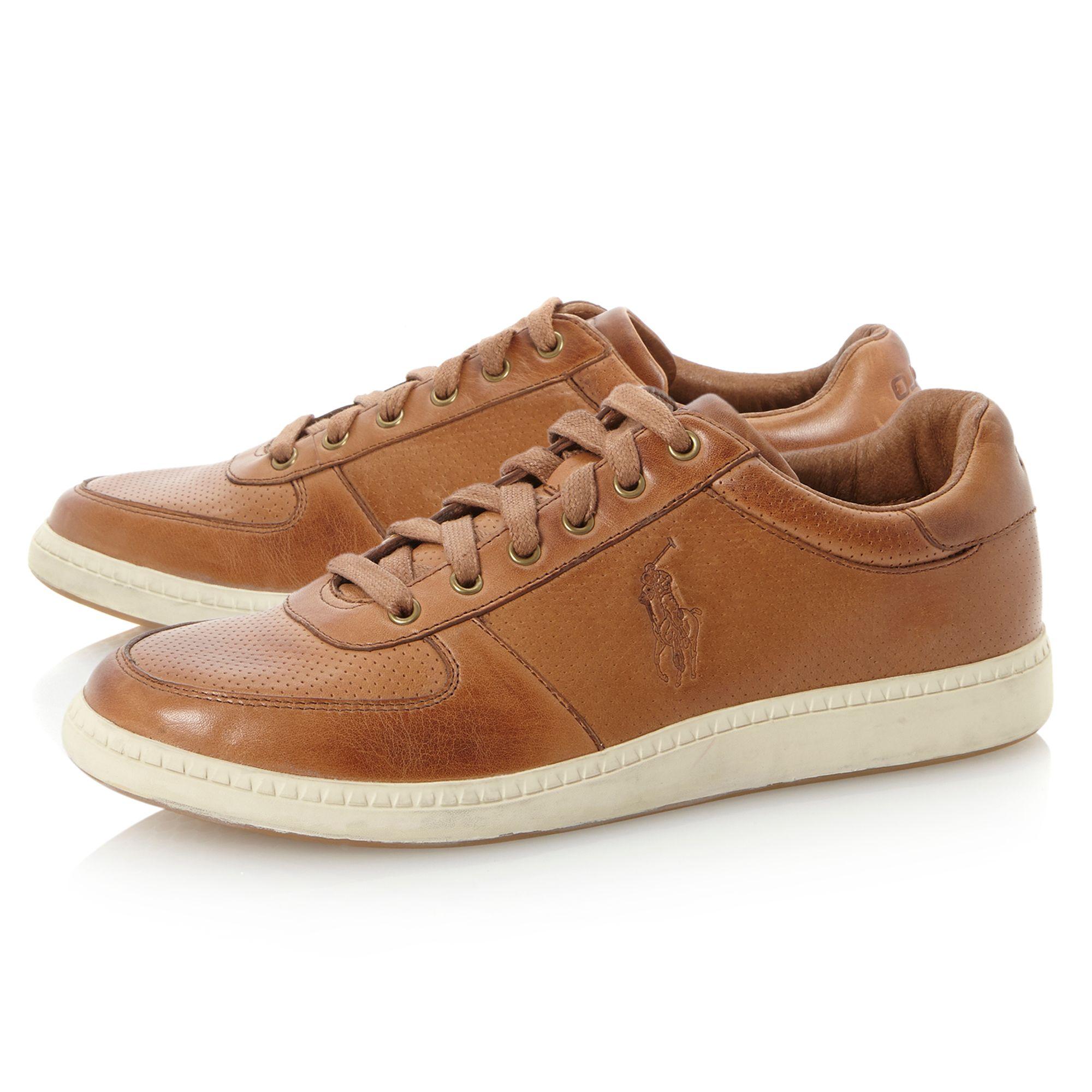 polo ralph lauren hernando smart leather sneaker in brown for men lyst. Black Bedroom Furniture Sets. Home Design Ideas