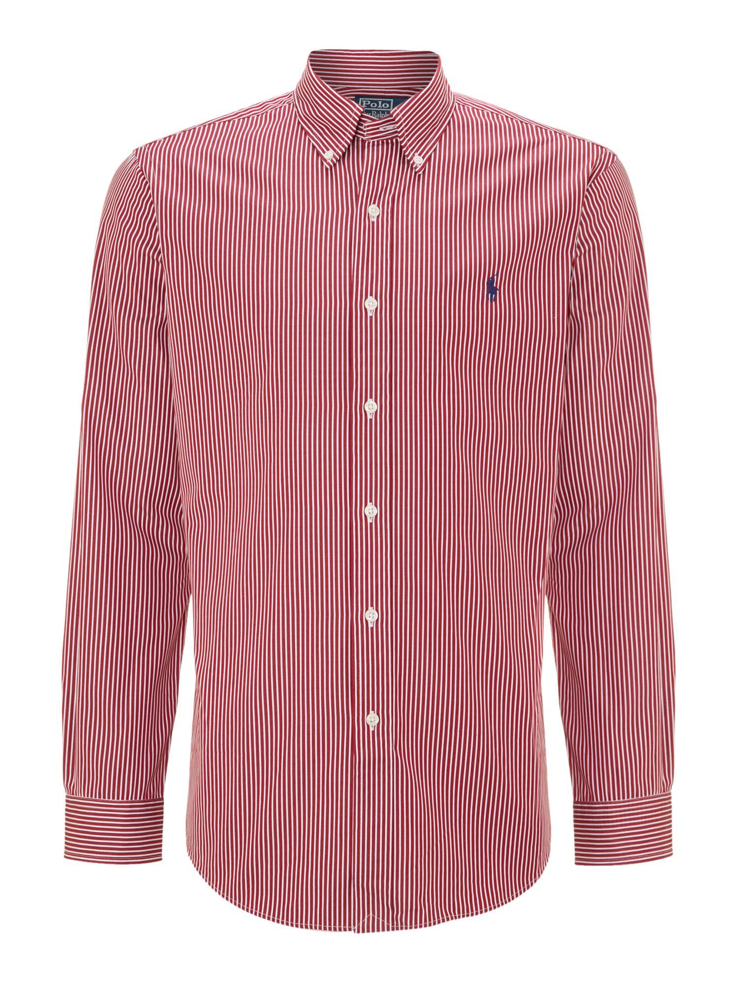 Polo ralph lauren long sleeve fine stripe shirt in purple for Long sleeve purple polo shirt