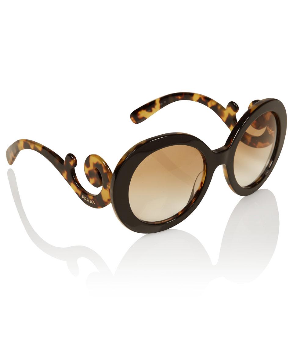 3fe5fc836b4 reduced prada black tortoiseshell baroque round sunglasses in black lyst  77bf1 55b76
