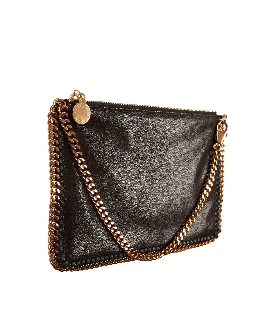5e77199a1d Lyst - Stella McCartney Small Black Falabella Clutch Bag in Black