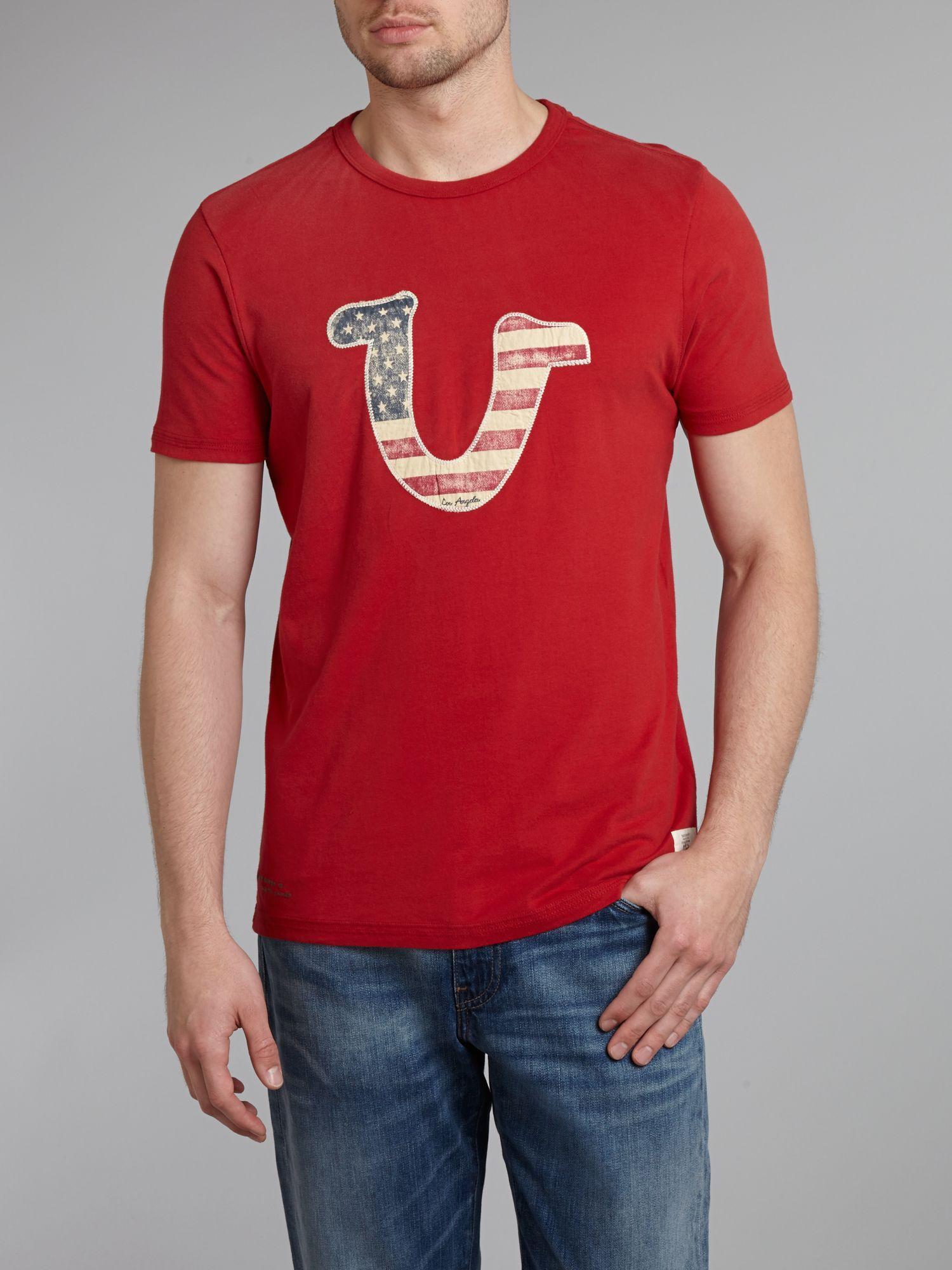 True Religion Us Logo Tshirt in Red for Men