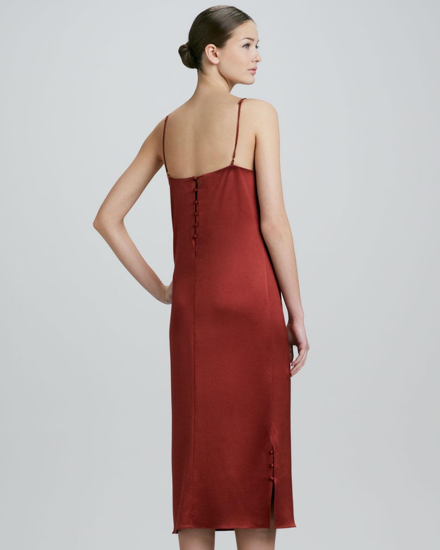 Adam Lippes Sheerinset Silk Satin Slip Dress Copper