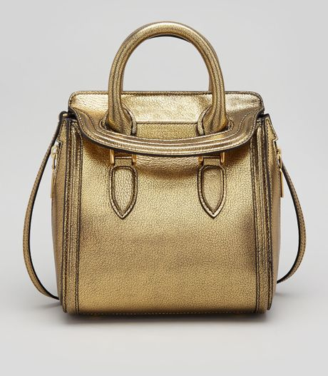 Alexander Mcqueen Heroine Mini Satchel Bag Gold in Gold | Lyst