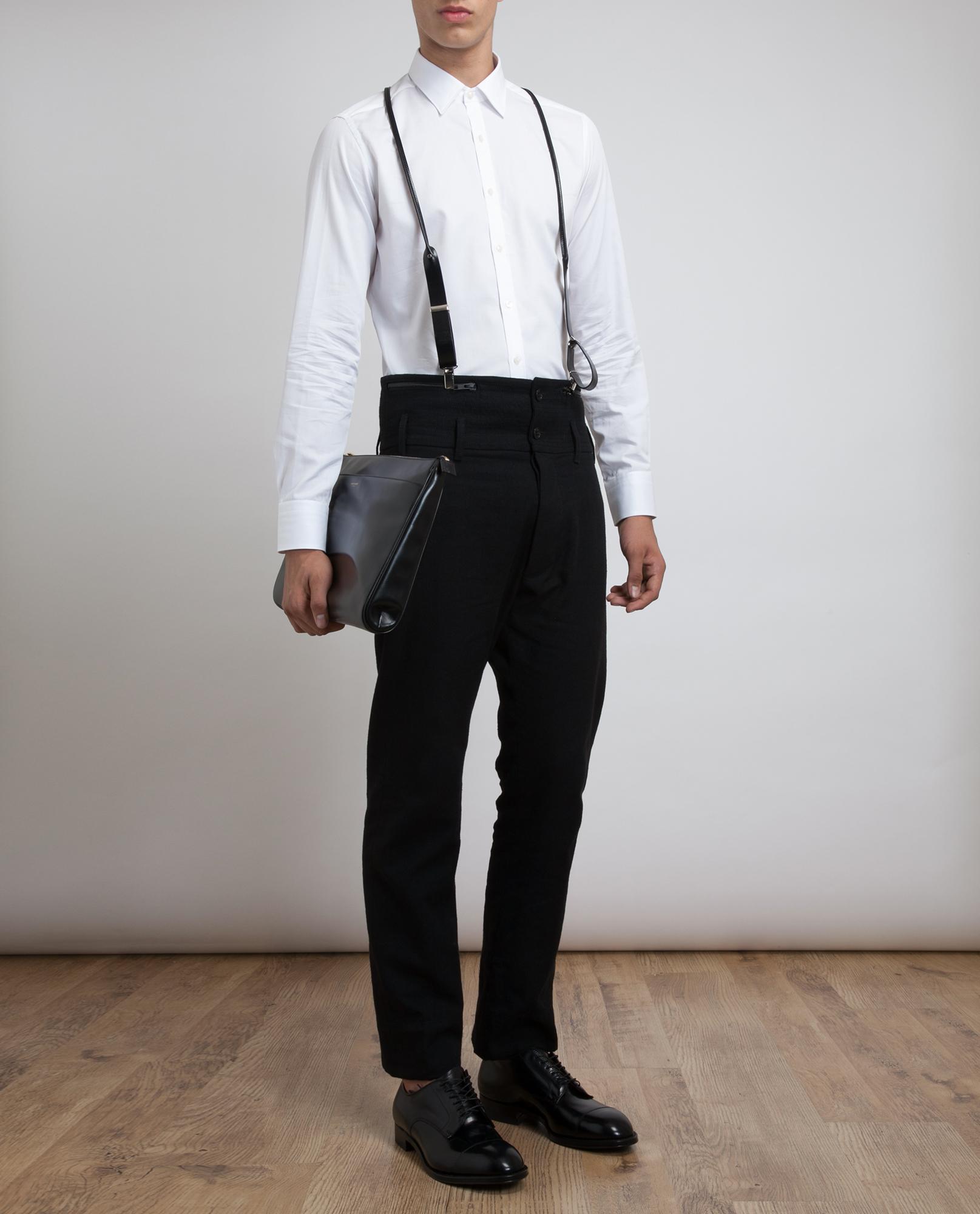 Ann Demeulemeester High Waisted Linenwool Trousers In Black For Men