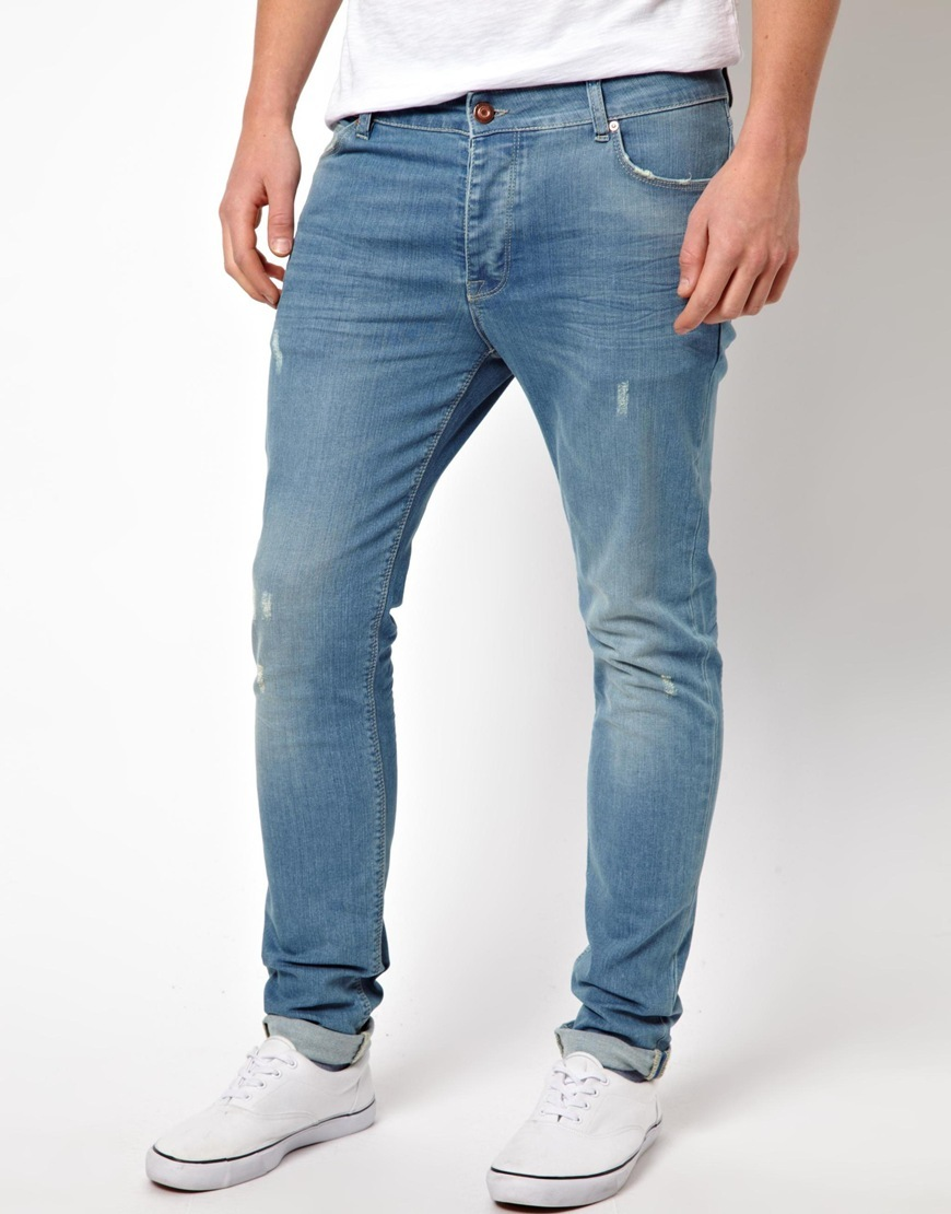 Asos Skinny Jeans With Worn Rips in Blue for Men | Lyst
