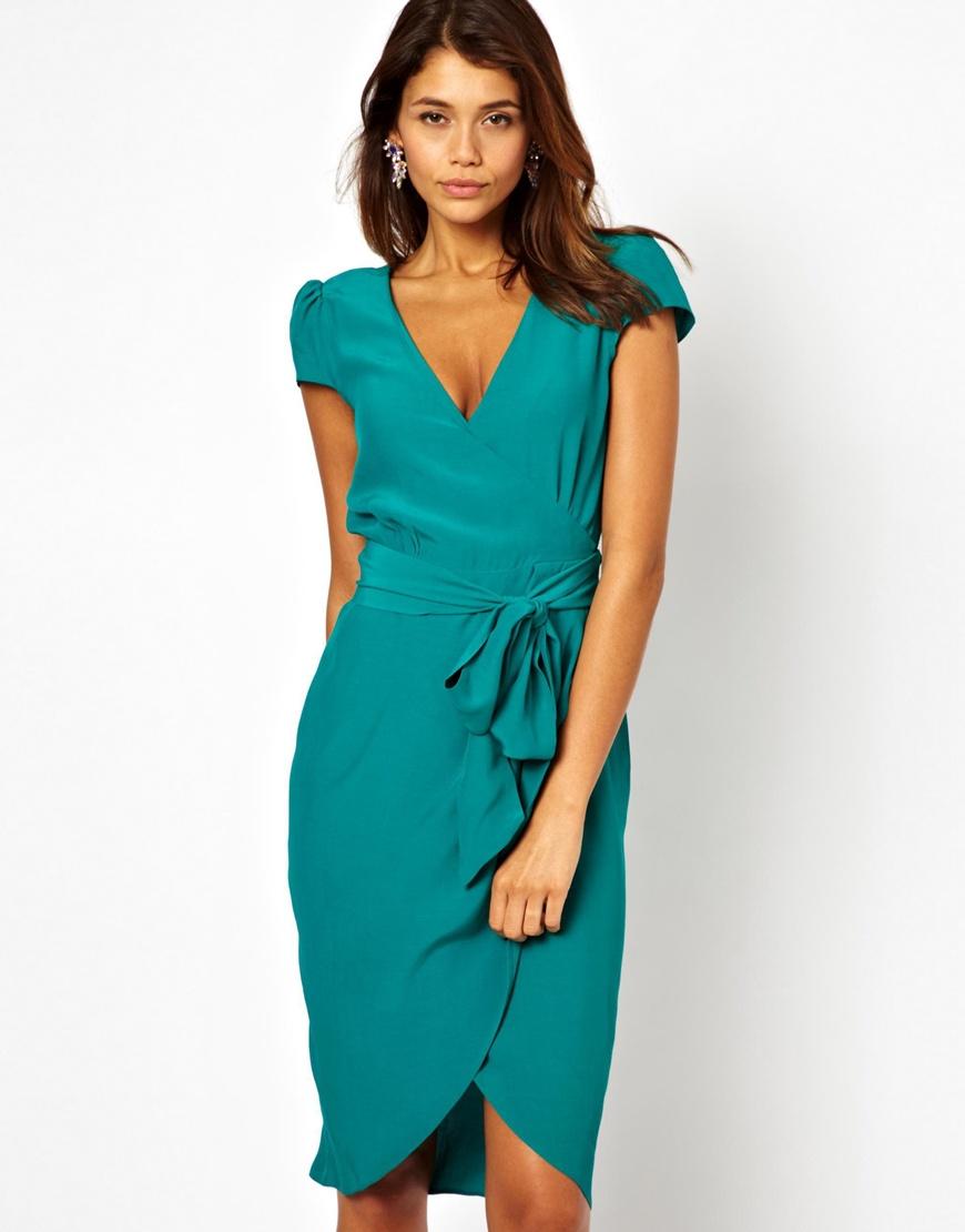 Lyst Asos Midi Wrap Tulip Dress In Green
