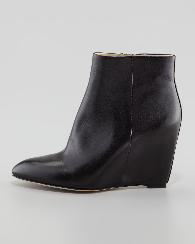 Lyst - B Brian Atwood Bellaria Leather Wedge Bootie Black in Black 0b790de1af06