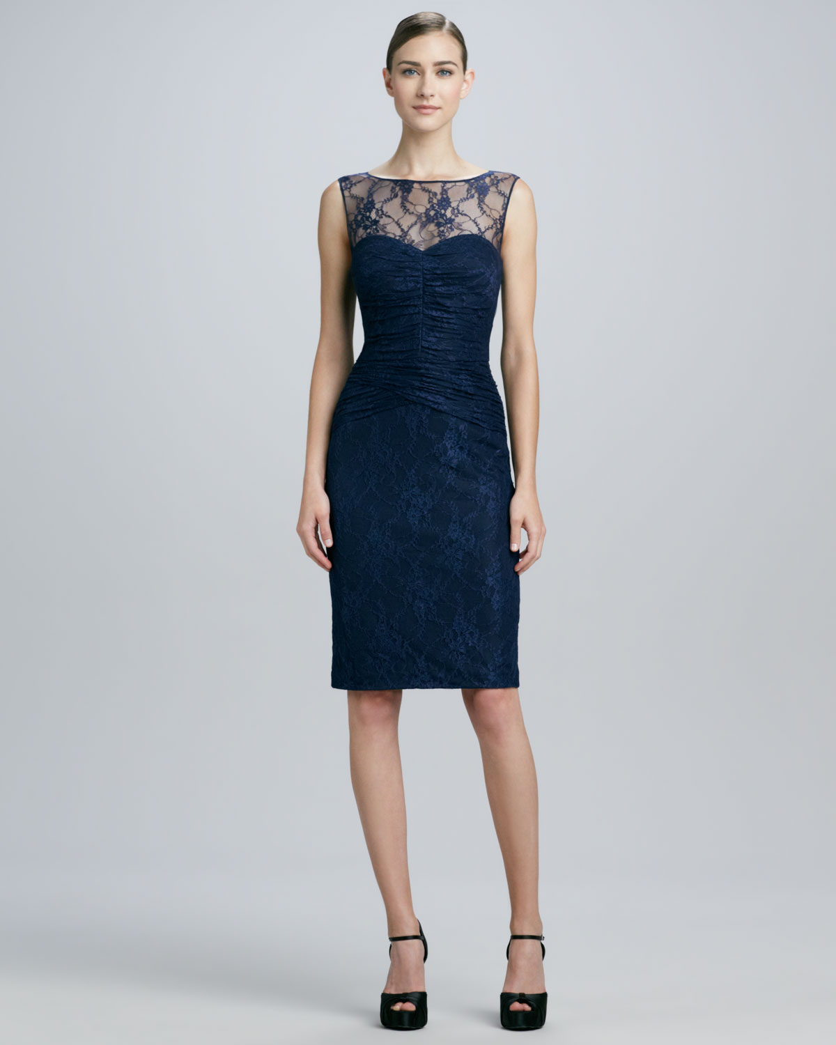 David Meister Sleeveless Lace Illusionneck Cocktail Dress ...