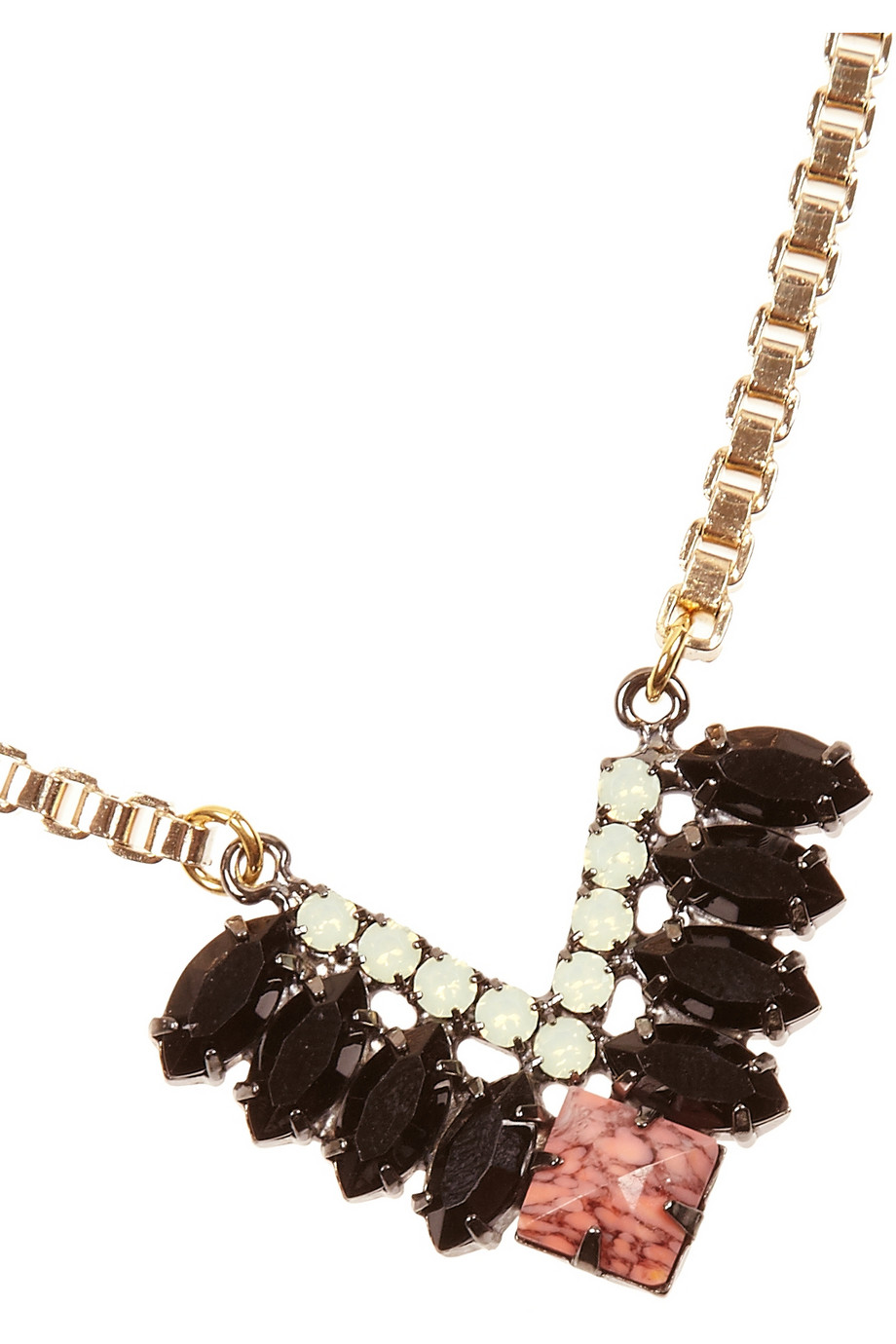 Elizabeth Cole Goldplated Coral and Swarovski Crystal Necklace in Black (Metallic)