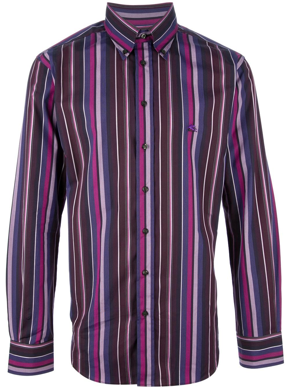 Fresh Lyst - Etro Striped Shirt in Purple for Men ZW23