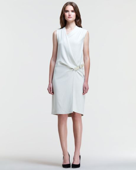 Asymmetric Drape Dress: Helmut Lang Asymmetric Sidebelt Drape Dress In White