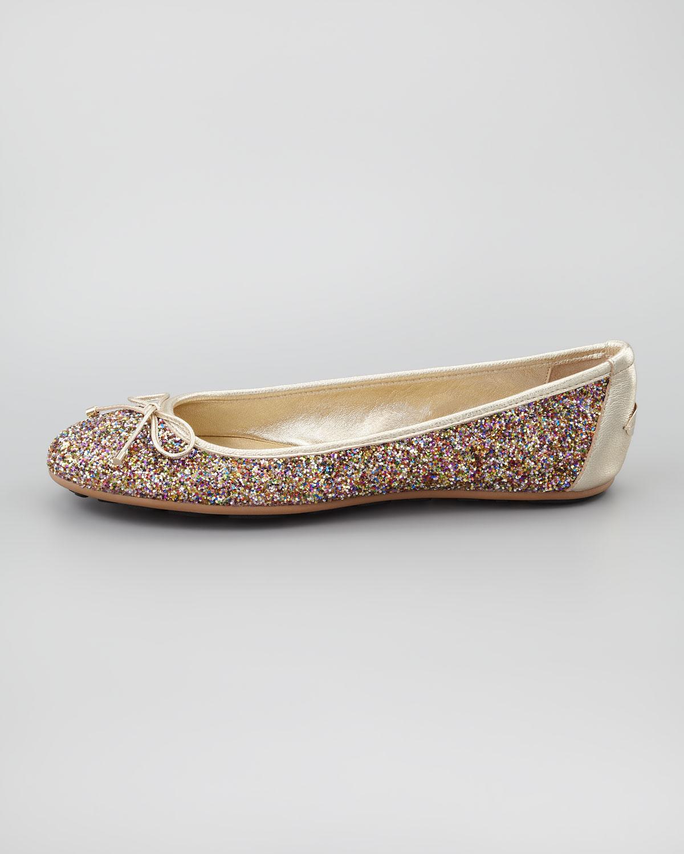 jimmy choo walsh glitter ballerina flat in metallic lyst. Black Bedroom Furniture Sets. Home Design Ideas