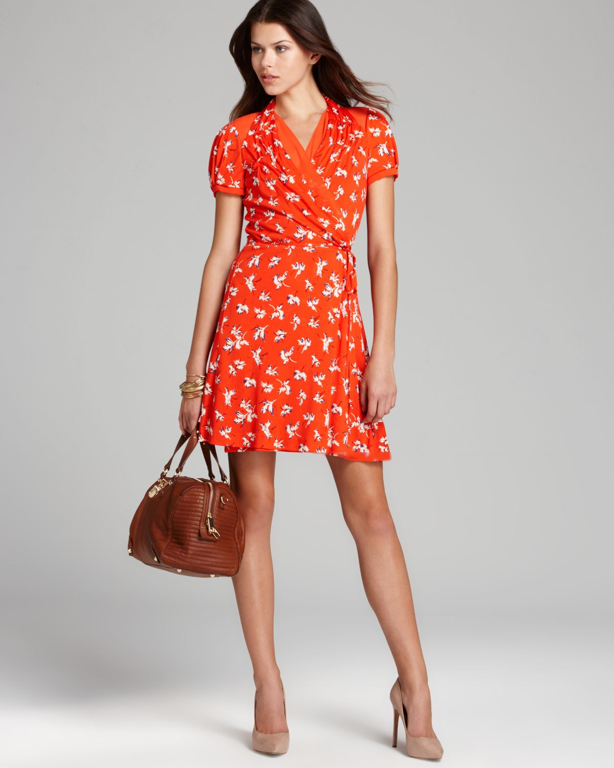 e032338068 Lyst - Juicy Couture Dress Feathered Iris in Orange