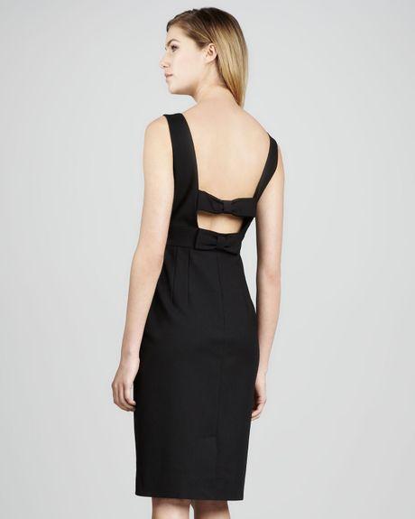 Kate spade joyann sleeveless bow back dress in black lyst