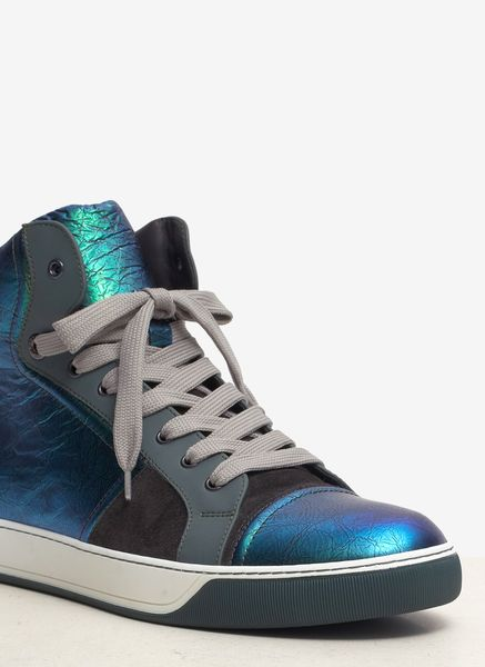 Lanvin Iridescent Leather Hightop Sneakers In Blue For Men