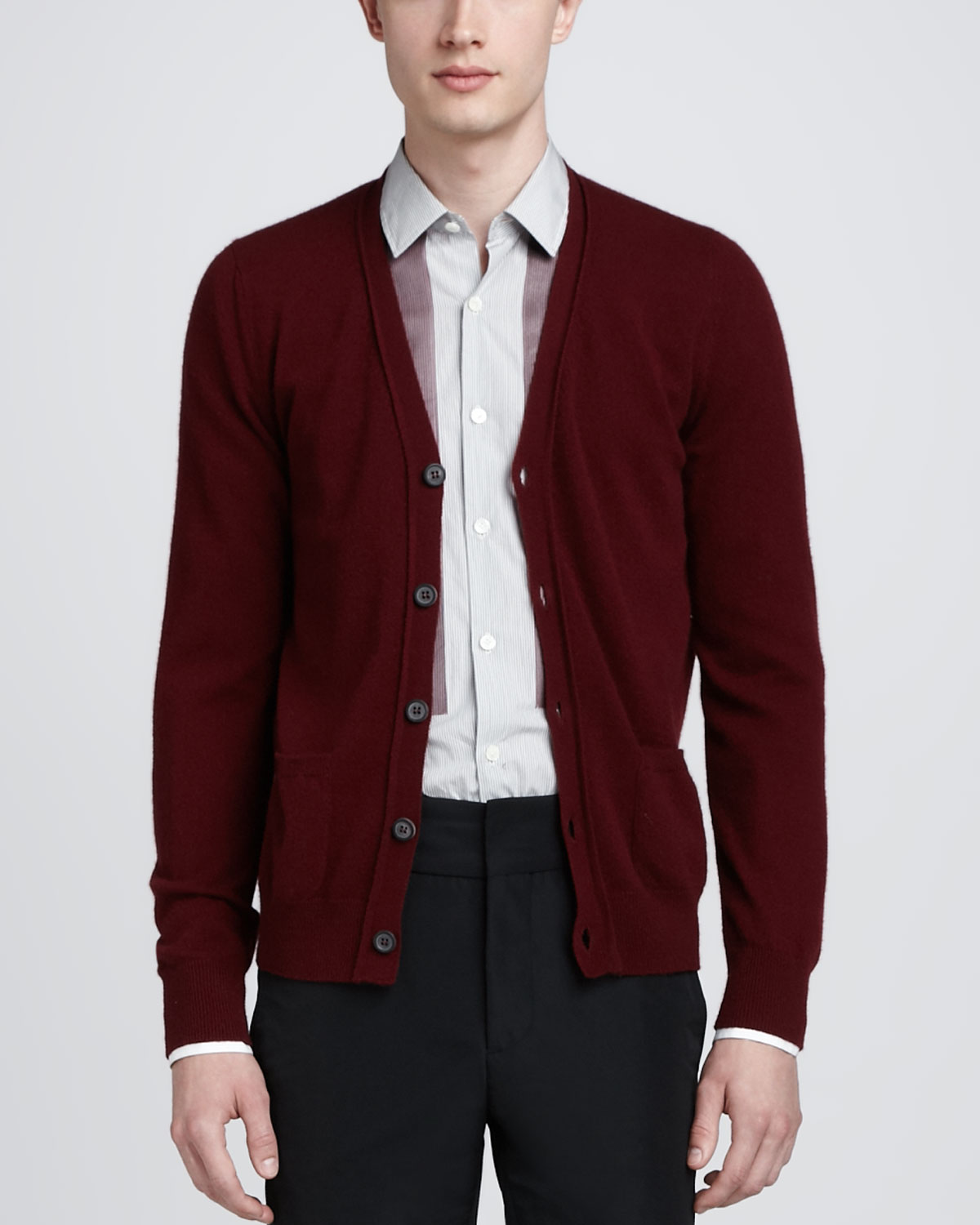 Lanvin Cashmere Cardigan Bordeaux in Purple for Men | Lyst