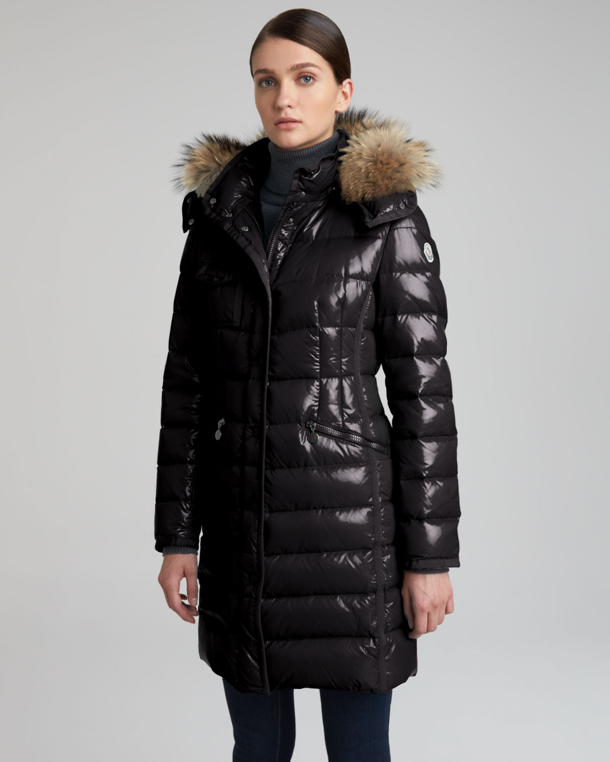 06082f587 real moncler long fur trimmed puffer coat year 64fdf 7d88b