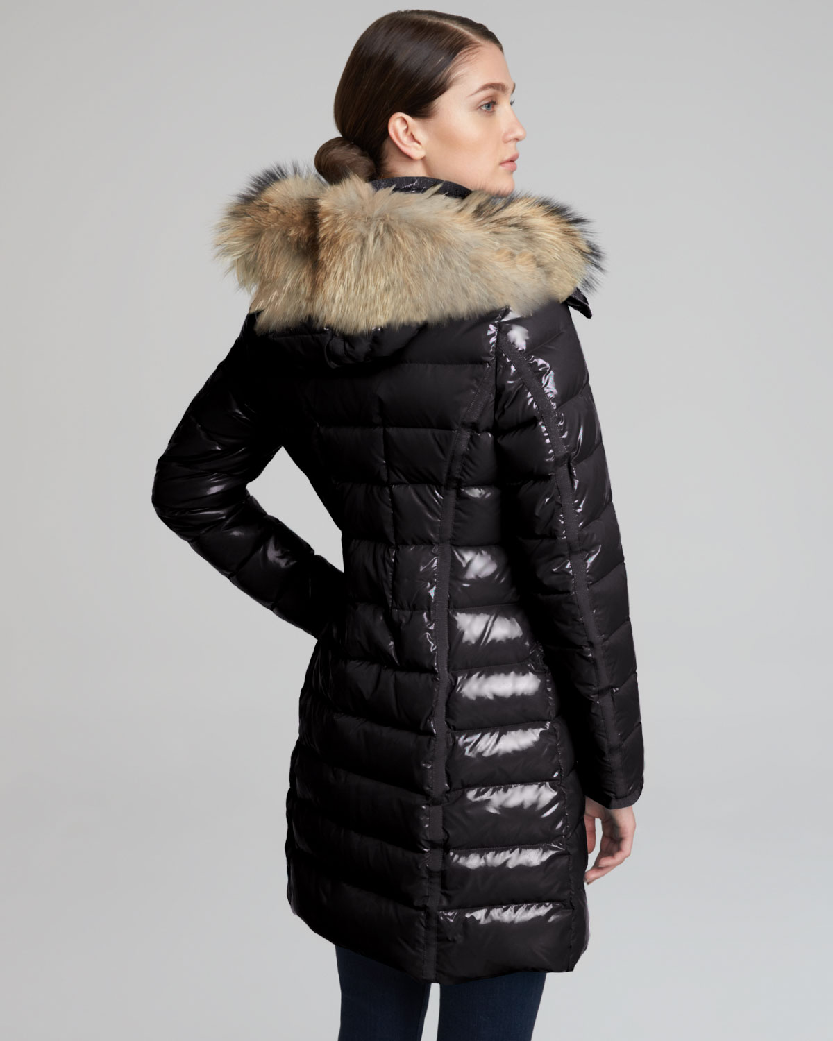 Lyst - Moncler Fur Hooded Long Puffer Coat In Black-7078