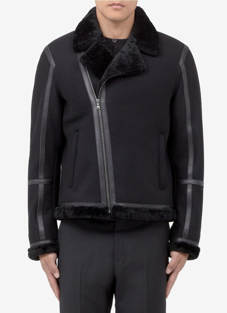 Neil barrett Shearling-lining Wool-blend Coat in Black for Men | Lyst