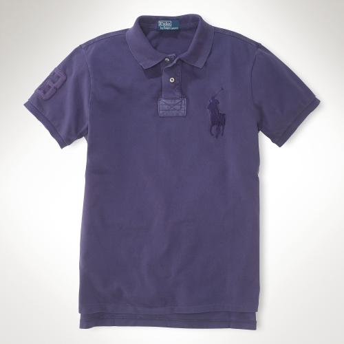 Polo ralph lauren customfit tonal big pony polo in purple for Black ralph lauren shirt purple horse