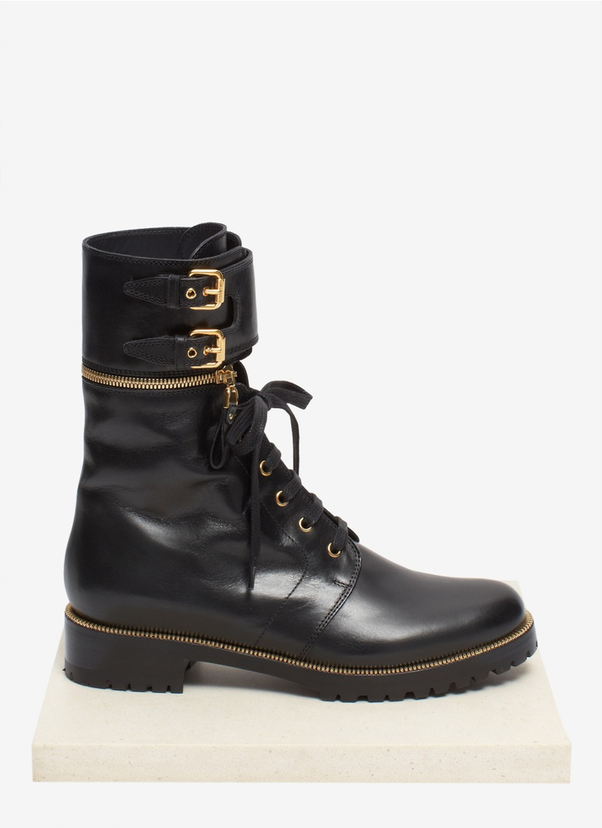Sergio rossi Detachable High-top Cuff Lace-up Combat Boots in ...