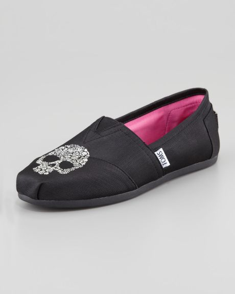 Toms Beaumont Skull Grosgrain Slipon Black in Black