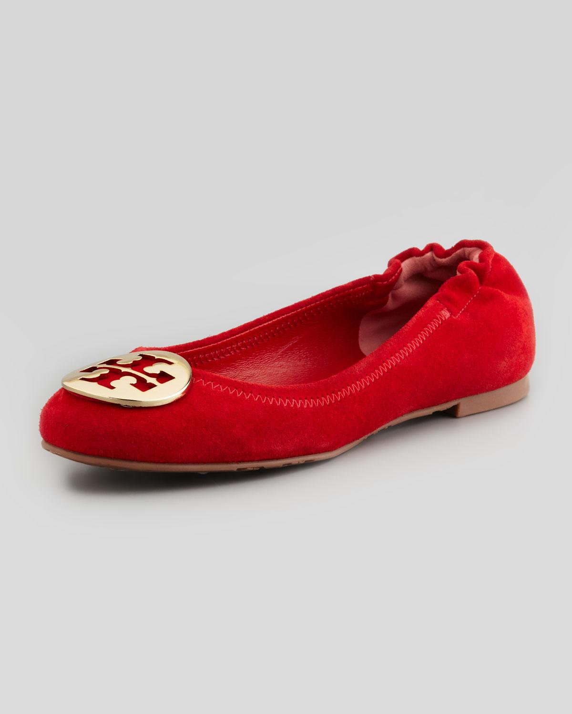 dc89789a4e8 Tory Burch Red Reva Suede Logo Ballerina
