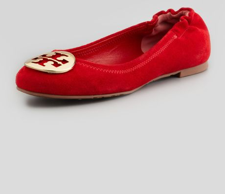 tory burch reva suede logo ballerina in red red gold lyst. Black Bedroom Furniture Sets. Home Design Ideas