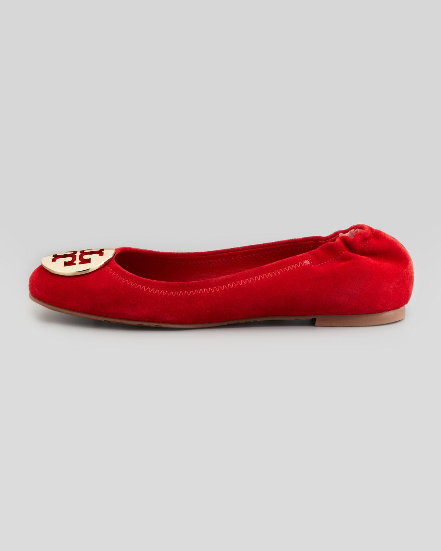 d5736e7ecd366 Lyst - Tory Burch Reva Suede Logo Ballerina in Red