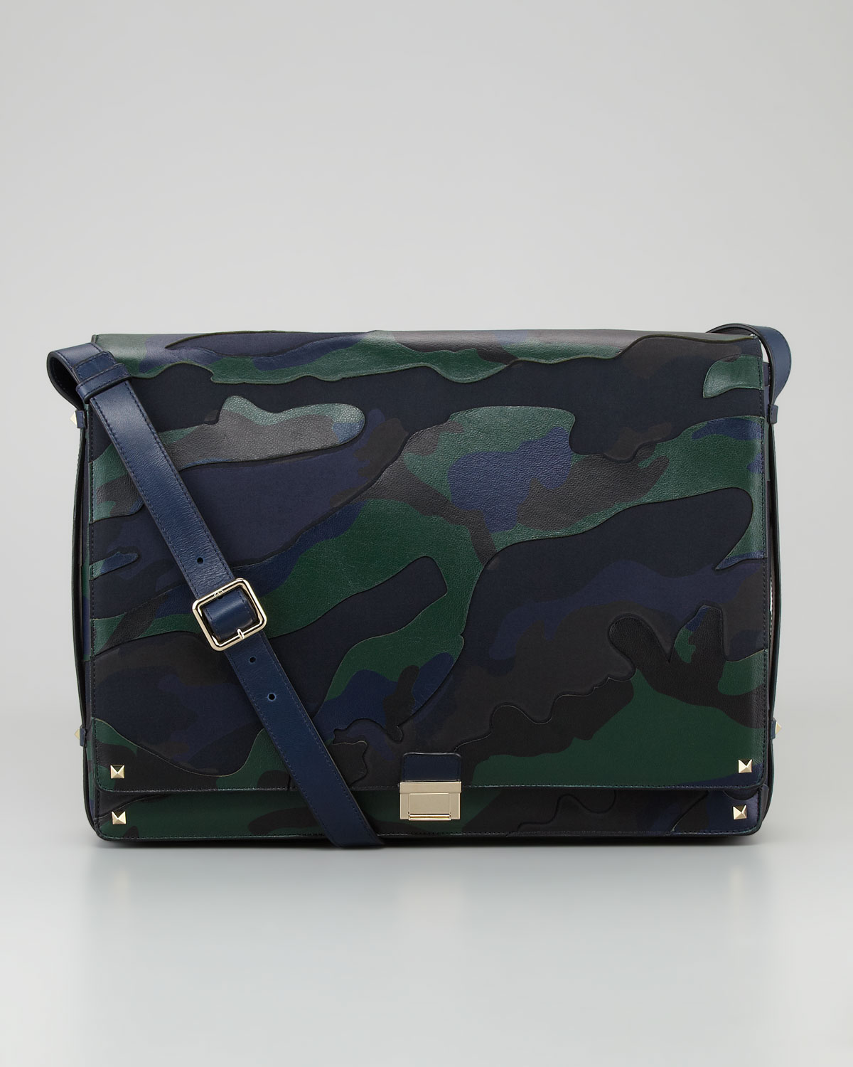 Lyst Valentino Rockstud Camo Canvas Leather Messenger