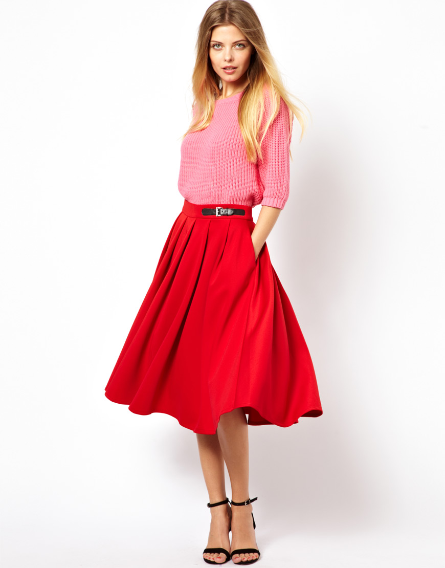 Asos Scuba Midi Skirt with Kilt Buckles in Red | Lyst