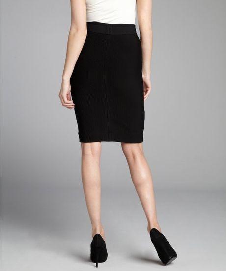 bcbgmaxazria ribbed pencil skirt in black lyst