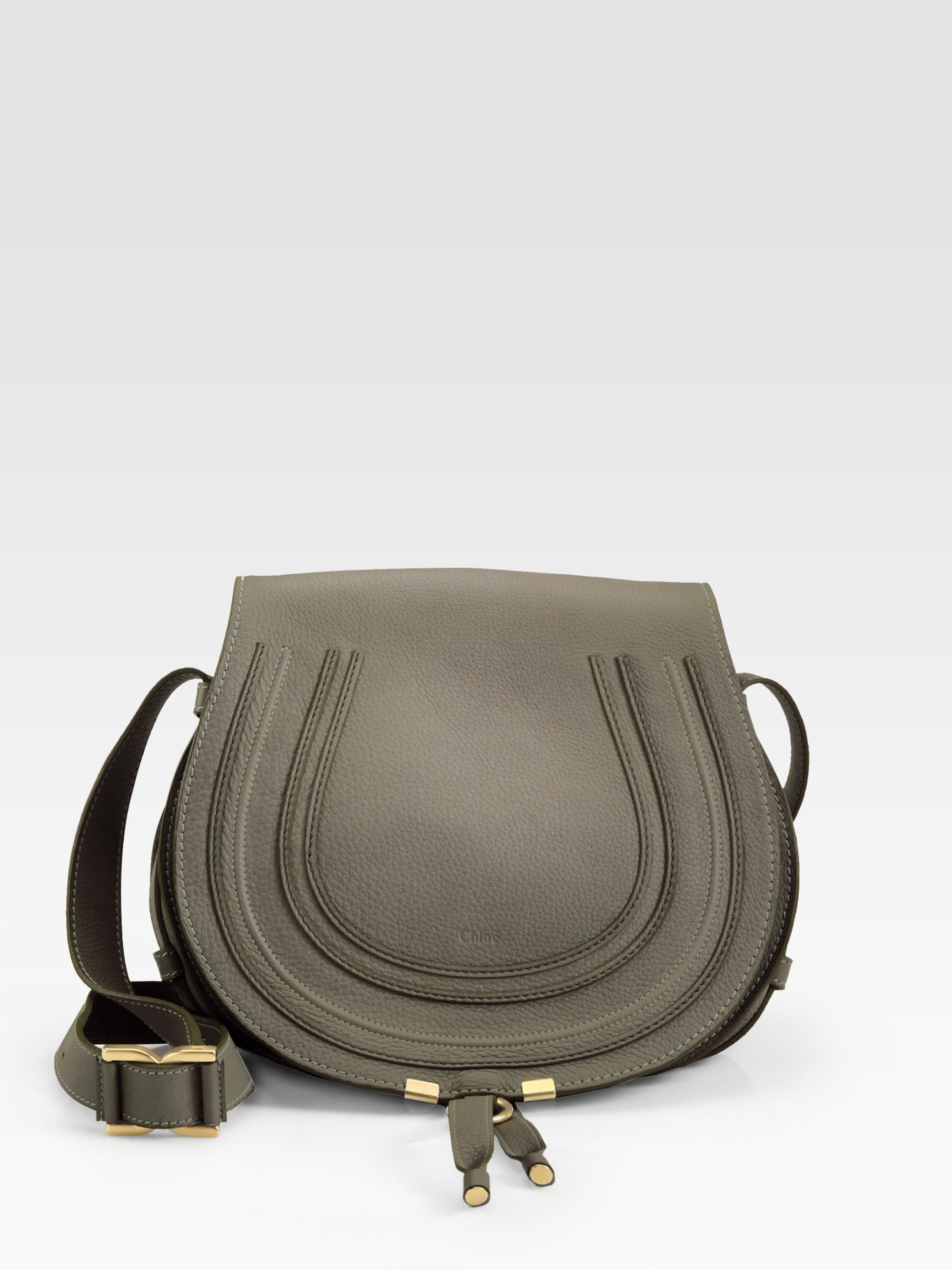 c338ac95 Chloé Gray Marcie Medium Round Crossbody Bag